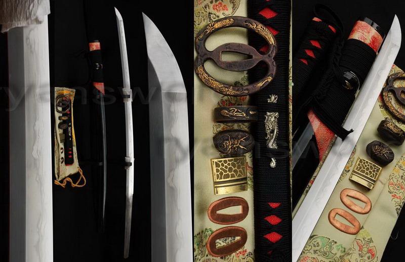 Tempered&Sanmai Blade Musashi Tsuba Authentic Katana Sword