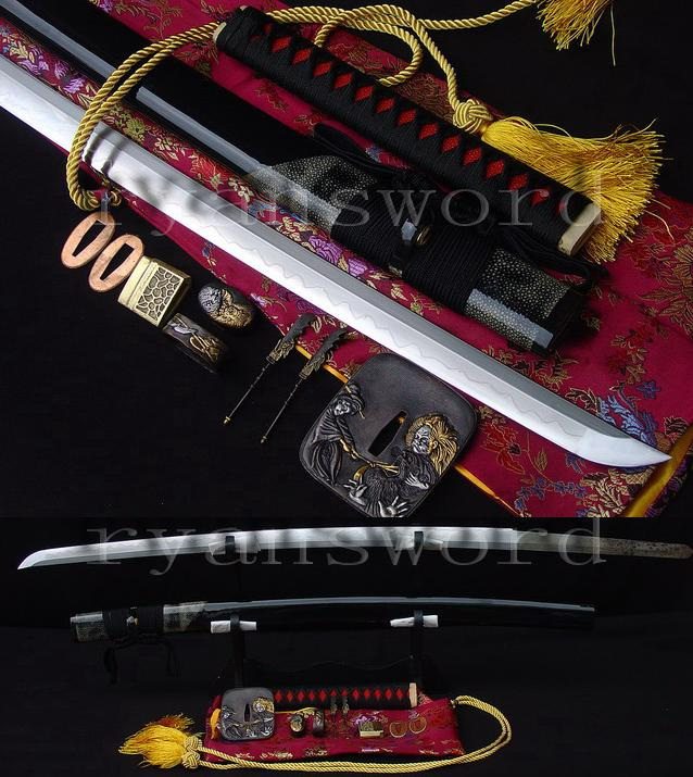 high quality 1095 carbon steel clay tempered+abrasivejapanese samurai katana sword --Ryan466