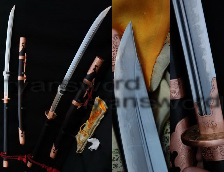 high quality clay tempered+abrasive 1095 carbon steel+folded steel+iron japanese naginata sword --Ryan509
