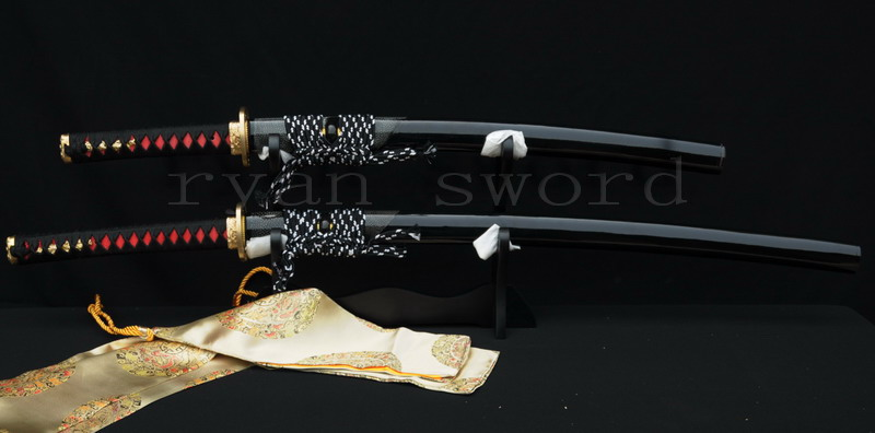 High Quality 1095 Carbon Steel Clay Tempered Ray Skin Saya Japanese Sword Set--Ryan636