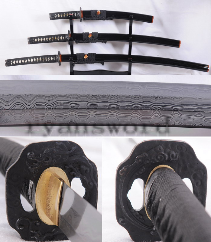 pattern steel blade samurai swords set katana+wakizashi+tanto -ryan1084