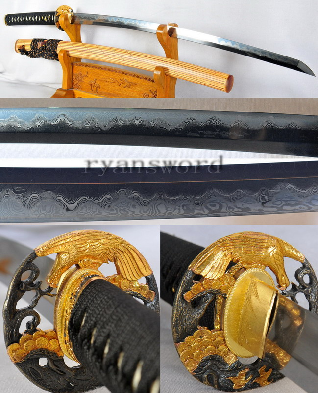 High End Katana Japanese Sword Enhanced Damascus Steel Clay Tempered with Finish Polishing --Ryan1181