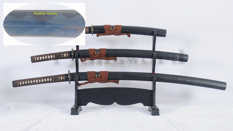 Clay Tempered Dashio Set Japanese Sword Katana+Wakizashi+Tanto Feather Grains --Ryan1252