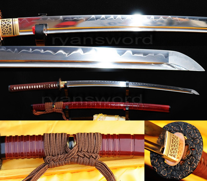 1095 high carbon steel clay tempered japanese samurai katana sword--Ryan218