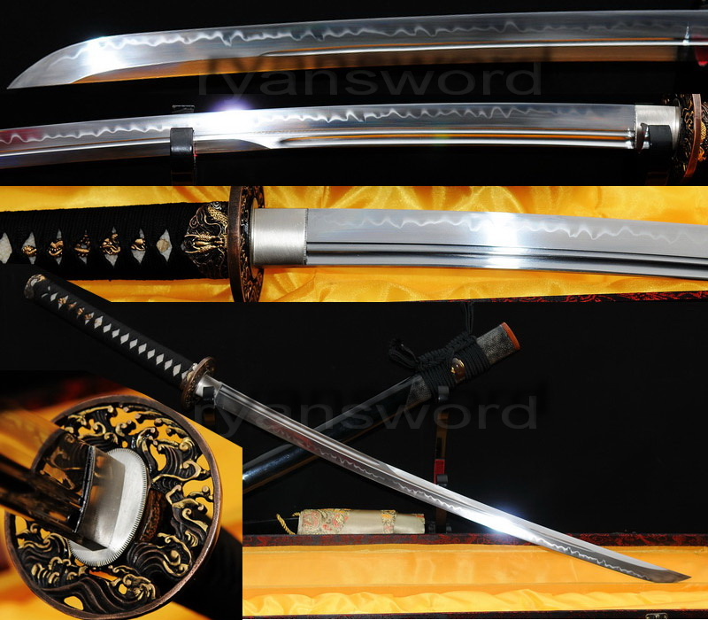 handmade clay tempered 1095 high carbon steel japanese samurai katana sword--Ryan302