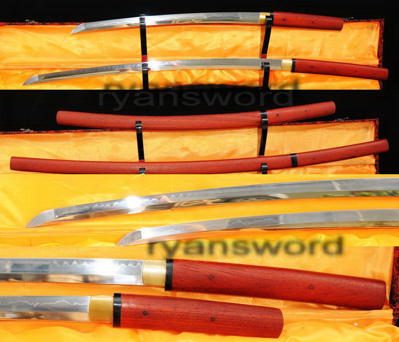 High Quality 1095 Carbon Steel Clay Tempered Japanese Samurai Sword Set--Ryan361
