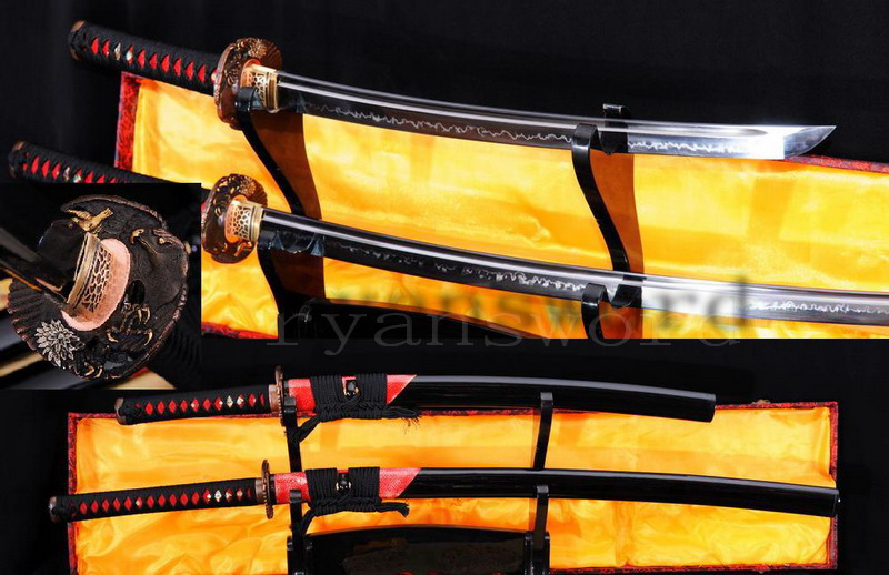 handmade maru clay tempered japanese samurai sword set (katana+wakizashi) --Ryan777