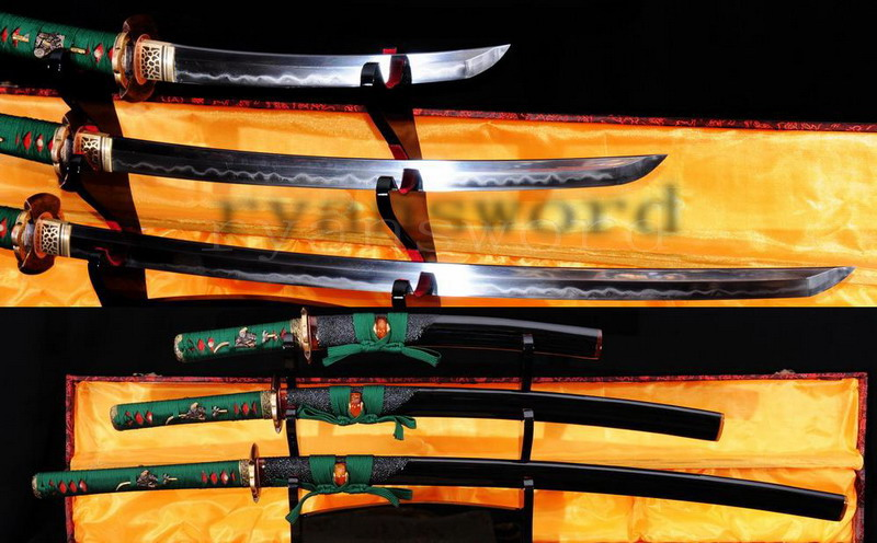 high quality clay tempered honsanmai japanese samurai sword (katana+wakizashi+tanto) --Ryan780