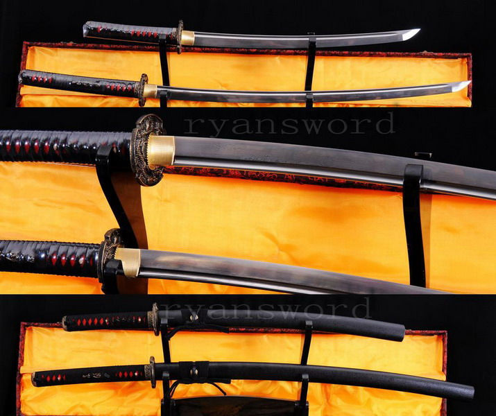 handmade damascus folded steel japanese samurai sword set (katana+wakizashi) --Ryan804