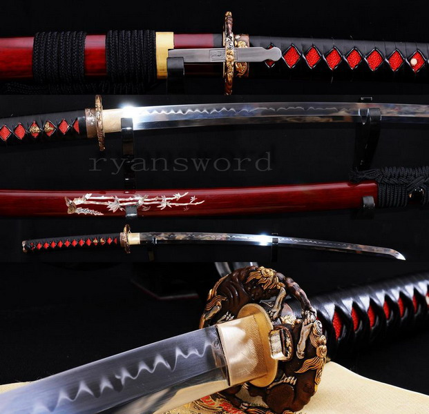 high quality 1095 carbon steel clay tempered with kozuka japanese samurai katana sword --Ryan811