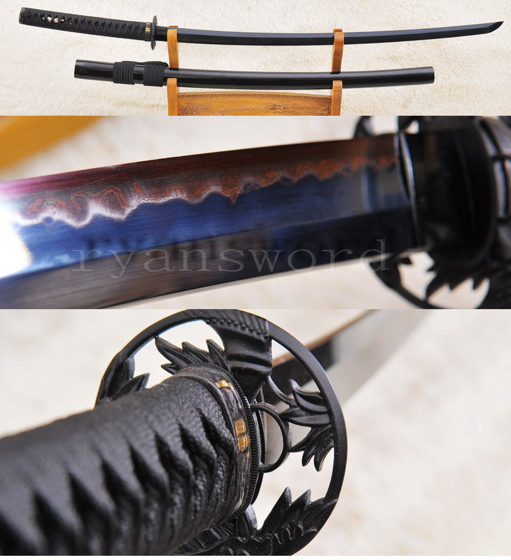 high quality black folded steel sanmai clay tempered japanese katana sword--Ryan904